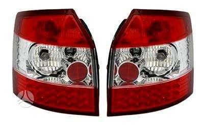 Audi A4 dalimis. Priekiniai tuning žibintai su led dienos švieos