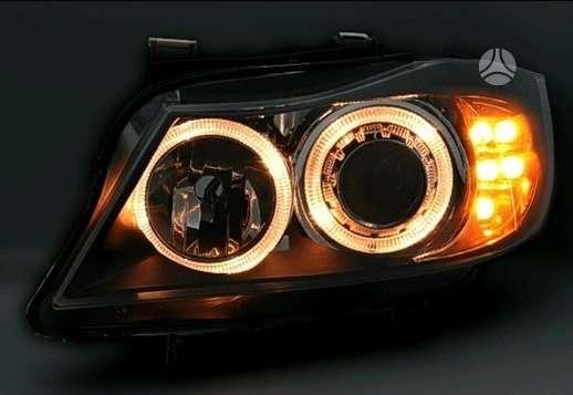 BMW 3 serija dalimis. Priekiniai tuning žibintai su angel eyes