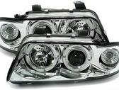 Audi A4 dalimis. Priekiniai tuning žibintai su angel eyes arba