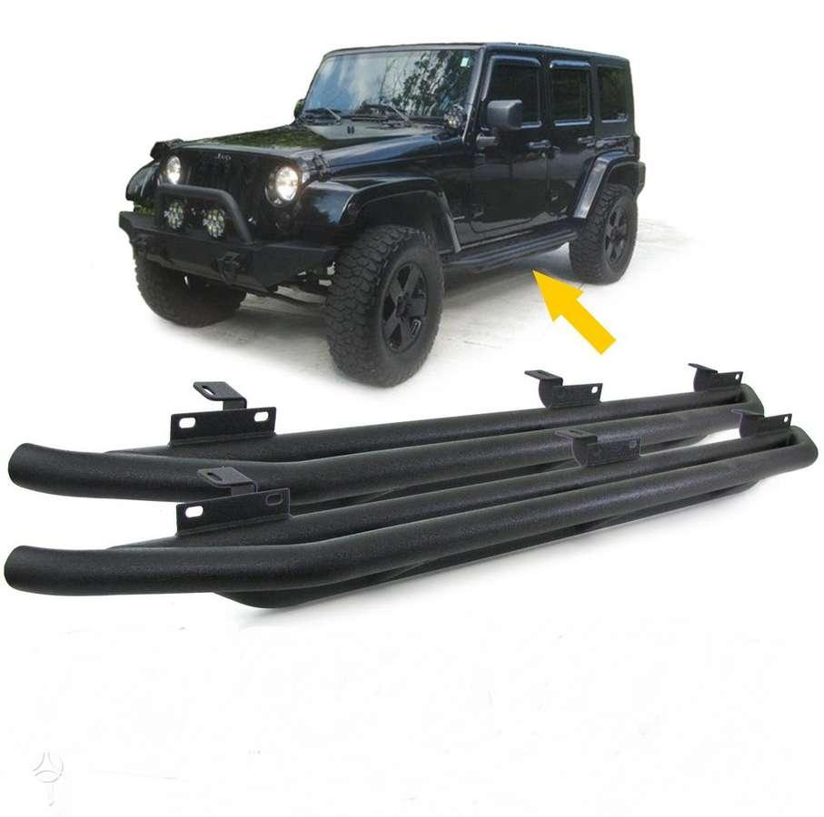 Jeep Wrangler. Tuning dalys.soniniai juodi slenksciai.priekines