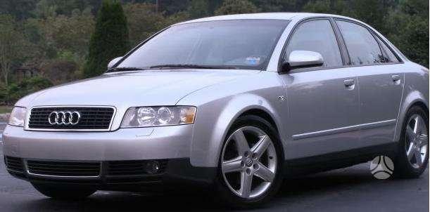 Audi A4 dalimis. Pigios kėbulo dalys, žibintai, radiatoriai.