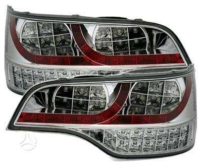 Audi Q7 dalimis. Galiniai led diodiniai žibintai ir numerio apš